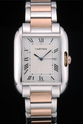Cartier Tank Anglaise 36mm White Dial Stainless Steel Case Two Tone Bracelet Cartier Replica