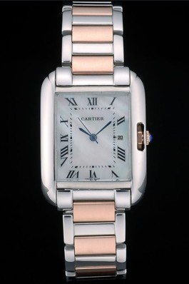 Cartier Tank Anglaise 30mm White Dial Stainless Steel Case Two Tone Bracelet Cartier Replica