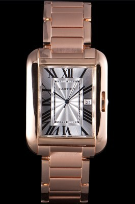 Cartier Tank Anglaise 36mm White Dial Rose Gold Case And Bracelet Cartier Replica