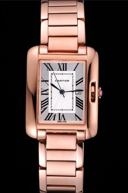 Cartier Tank Anglaise 30mm White Dial Rose Gold Case And Bracelet Cartier Replica