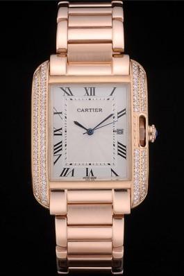 Cartier Tank Anglaise 36mm White Dial Diamonds Rose Gold Case Rose Gold Bracelet Cartier Replica