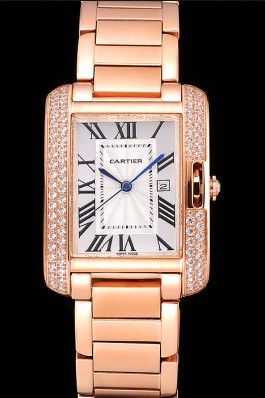 Cartier Tank Anglaise 30mm White Dial Diamonds Rose Gold Case Rose Gold Bracelet Cartier Replica