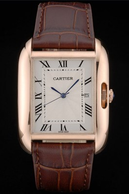 Cartier Tank Anglaise 36mm White Dial Gold Case Brown Leather Bracelet Cartier Replica