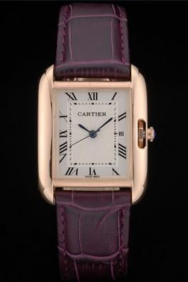 Cartier Tank Anglaise 30mm White Dial Gold Case Purple Leather Bracelet Cartier Replica