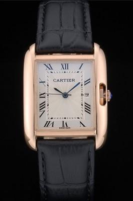 Cartier Tank Anglaise 30mm White Dial Gold Case Black Leather Bracelet Cartier Replica