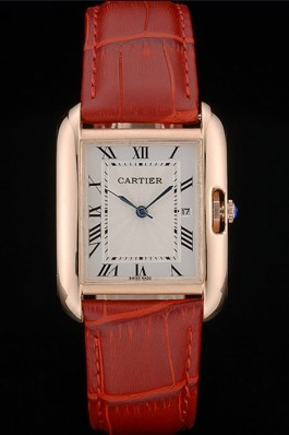 Cartier Tank Anglaise 30mm White Dial Gold Case Red Leather Bracelet Cartier Replica