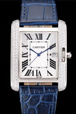 Cartier Tank Anglaise 36mm White Dial Diamonds Steel Case Blue Leather Bracelet Cartier Replica