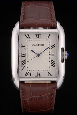 Cartier Tank Anglaise 36mm White Dial Stainless Steel Case Brown Leather Bracelet Cartier Replica