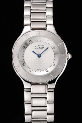 Cartier Must White Dial Stainless Steel Case And Bracelet Cartier Replica