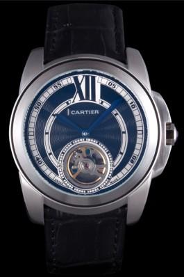 Cartier Calibre Flying Tourbillon Black Dial Stainless Steel Case Black Leather Bracelet Cartier Replica