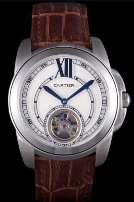 Cartier Calibre Flying Tourbillon White Dial Stainless Steel Case Brown Leather Bracelet  Cartier Replica