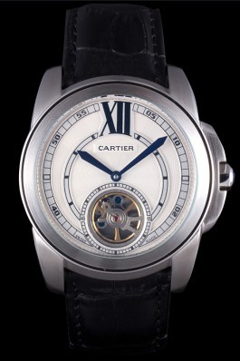 Cartier Calibre Flying Tourbillon White Dial Stainless Steel Case Black Leather Bracelet  Cartier Replica