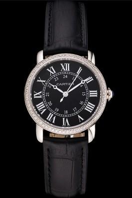 Cartier Ronde Black Dial Diamond Bezel Stainless Steel Case Black Leather Strap Cartier Replica