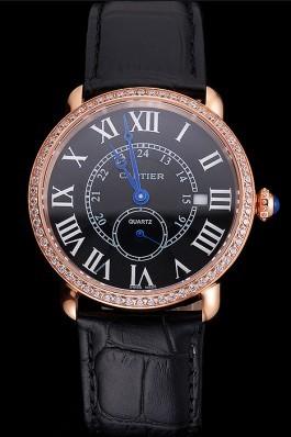Cartier Ronde Louis Cartier Black Dial Gold Case Diamond Bezel Black Leather Strap Cartier Replica