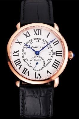 Cartier Ronde Louis Cartier White Dial Gold Case Black Leather Strap Cartier Replica
