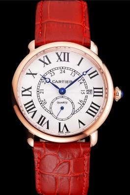 Cartier Ronde Louis Cartier White Dial Gold Case Red Leather Strap Cartier Replica