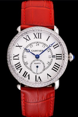 Cartier Ronde Louis Cartier White Dial Stainless Steel Case Diamond Bezel Red Leather Strap Cartier Replica
