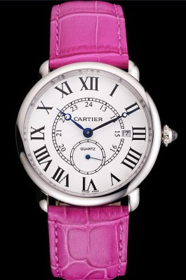 Cartier Ronde Louis Cartier White Dial Stainless Steel Case Fuchsia Leather Strap Cartier Replica