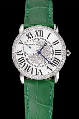 Cartier Ronde Louis Silver Diamond Case White Dial Green Leather Bracelet 1454012 Cartier Replica