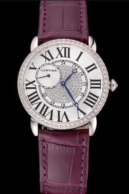Cartier Ronde Louis Silver Diamond Case White Dial Purple Leather Bracelet 1454009 Cartier Replica