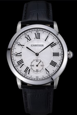 Cartier Ronde Louis White Dial Black Leather Strap 621977 Cartier Replica
