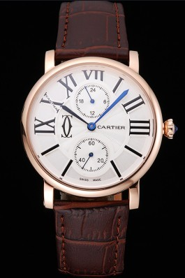 Cartier Ronde Second Time Zone White Dial Gold Case Brown Leather Strap 622801 Cartier Replica