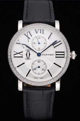 Cartier Ronde Second Time Zone White Dial Stainless Steel Case With Diamonds Black Leather Strap 622804 Cartier Replica