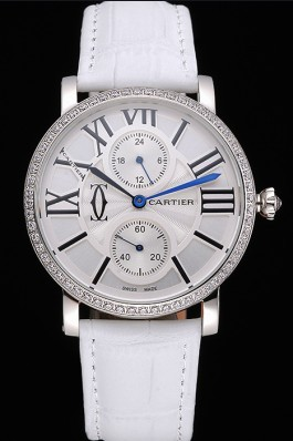 Cartier Ronde Second Time Zone White Dial Stainless Steel Case With Diamonds White Leather Strap 622803 Cartier Replica