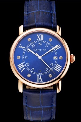 Cartier Ronde Solo Blue Dial Diamond Hour Marks Rose Gold Case Blue Leather Strap Cartier Replica