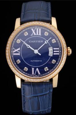 Swiss Cartier Ronde Solo Blue Dial Gold Diamond Case Blue Leather Strap Cartier Replica