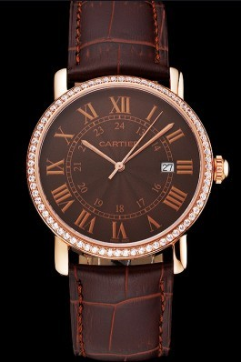 Cartier Ronde Solo Brown Dial Diamond Bezel Rose Gold Case Brown Leather Strap Cartier Replica