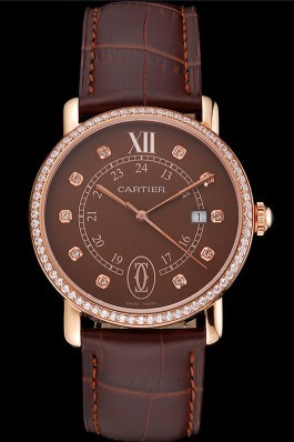 Cartier Ronde Solo Brown Dial Diamond Hour Marks And Bezel Rose Gold Case Brown Leather Strap Cartier Replica