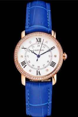 Cartier Ronde White Dial Diamond Bezel Rose Gold Case Blue Leather Strap Cartier Replica