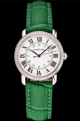 Cartier Ronde White Dial Diamond Bezel Stainless Steel Case Green Leather Strap Cartier Replica