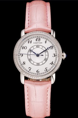 Cartier Ronde White Dial Diamond Bezel Stainless Steel Case Pink Leather Strap Cartier Replica