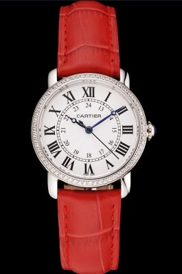 Cartier Ronde White Dial Diamond Bezel Stainless Steel Case Red Leather Strap Cartier Replica