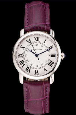 Cartier Ronde White Dial Stainless Steel Case Purple Leather Strap Cartier Replica