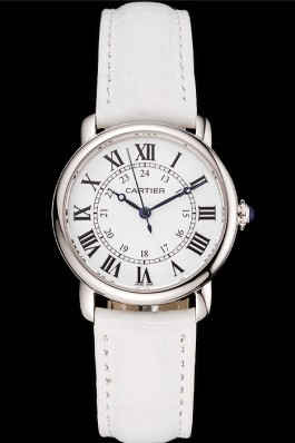 Cartier Ronde White Dial Stainless Steel Case White Leather Strap Cartier Replica