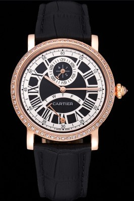 Cartier Rotonde Black And White Dial Gold Case With Jewels Black Leather Strap 622758 Cartier Replica