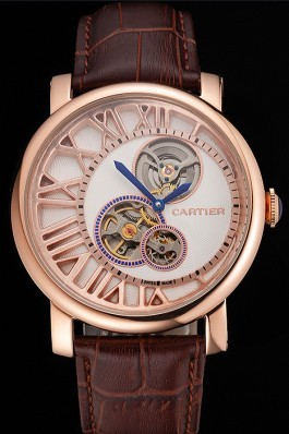 Cartier Rotonde De Cartier Flying Tourbillon White Dial Rose Gold Numerals Rose Gold Case Brown Leather Strap Cartier Replica