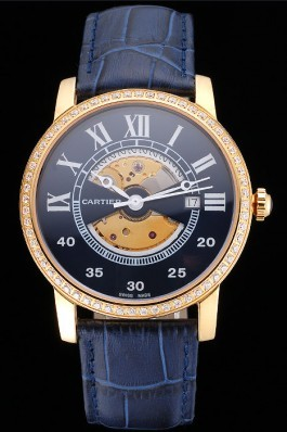 Swiss Cartier Rotonde Small Complication Blue Dial Gold Diamond Case Blue Leather Strap Cartier Replica