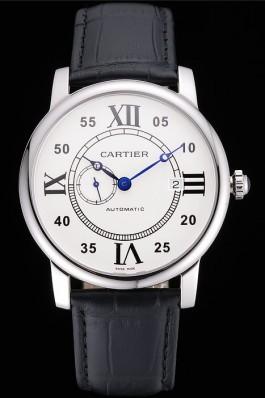 Swiss Cartier Rotonde Solo White Dial Silver Case Black Leather Strap  Cartier Replica