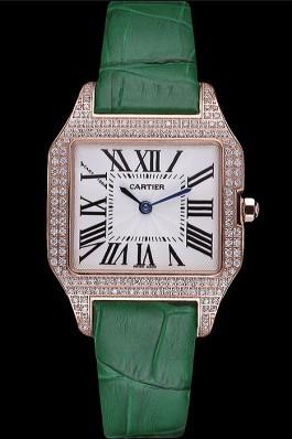 Cartier Santos 100 Diamond Rose Gold Bezel 621912 Cartier Replica