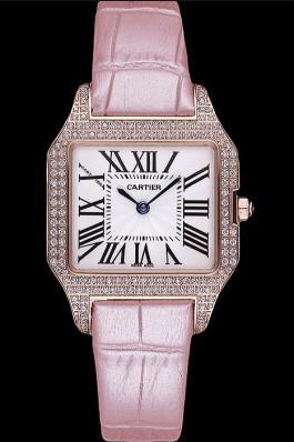Cartier Santos 100 Diamond Rose Gold Bezel 621915 Cartier Replica