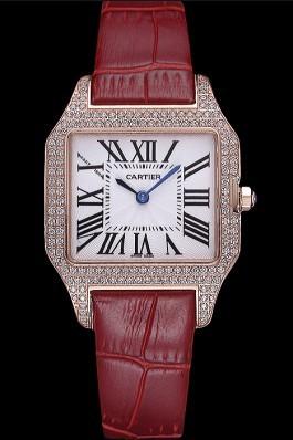 Cartier Santos 100 Diamond Rose Gold Bezel 621917 Cartier Replica