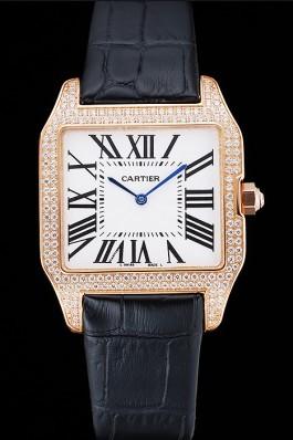 Cartier Santos 100 Diamond Rose Gold Bezel 621925 Cartier Replica