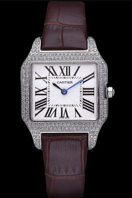 Cartier Santos 100 Diamond Silver Bezel 621908 Cartier Replica