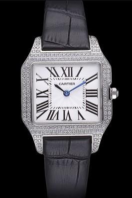 Cartier Santos 100 Diamond Silver Bezel 621909 Cartier Replica