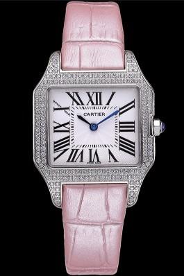 Cartier Santos 100 Diamond Silver Bezel 621910 Cartier Replica