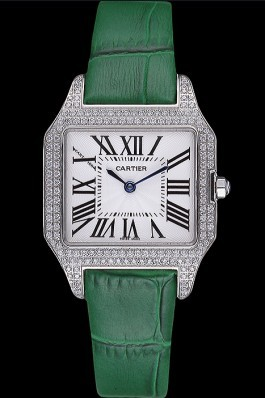 Cartier Santos 100 Diamond Silver Bezel 621914 Cartier Replica